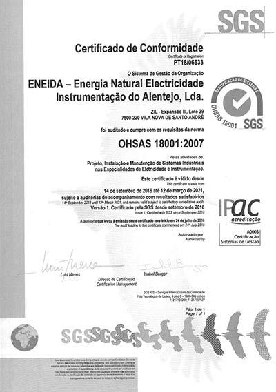 Certificação OHSAS 18001